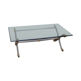 LaBarge Regency Chrome & Brass Glass Top Table