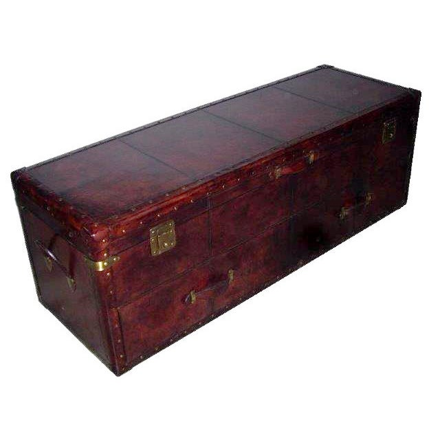 Dark Brown Genuine Leather Bedside Trunk Chest - Image 1 of 2