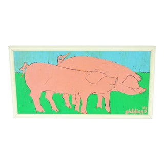"Cindi Giddings ""Pinky Pigs"" Oil Painting"