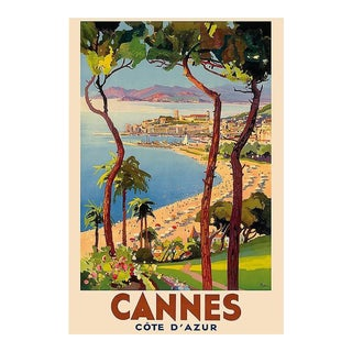 Matted and Framed Vintage Cannes Travel Poster