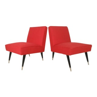 Mid-Century Italian Modern Slipper Chairs - a Pair