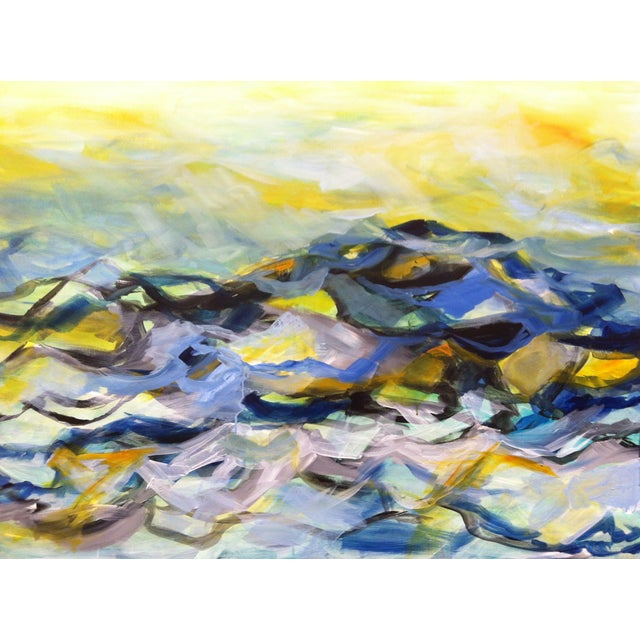 """Ocean Painting """"Moon Tide"""" Acrylic on Canvas - Image 1 of 5"""