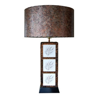 Mid-Century Brutalist Copper & Tiled Table Lamp