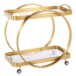 Golden Steel Bar Cart With Glass Shelves & Rolling Casters