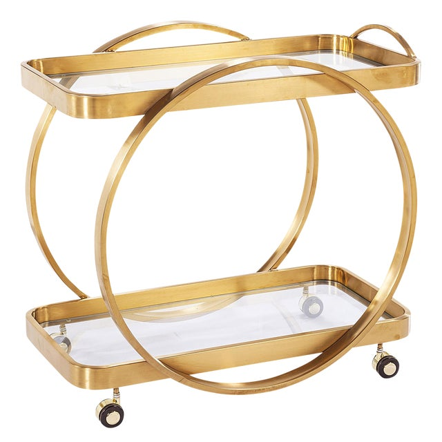 Golden Steel Bar Cart With Glass Shelves & Rolling Casters - Image 1 of 4