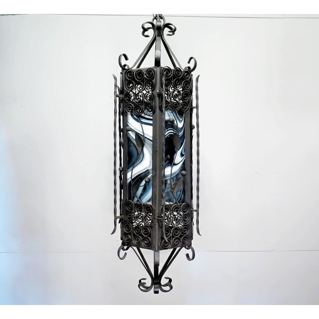 Black & White Iron Pendant Chandelier - Image 6 of 7