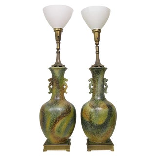 Pair Mid-Century Modern Asian Ceramic Pottery Lamps Green MCM James Mont Style