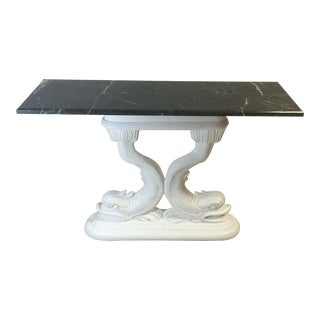 Marble Topped Dolphin Console Table