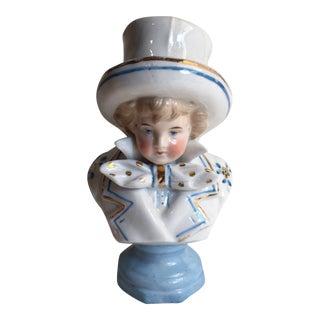 Victorian Hand-Painted Ceramic Boy Portrait Bust