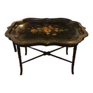 Antique Black Lacquer Paper Mache Tray Table