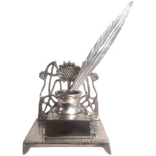 French Silverplate Inkwell Feather Quill
