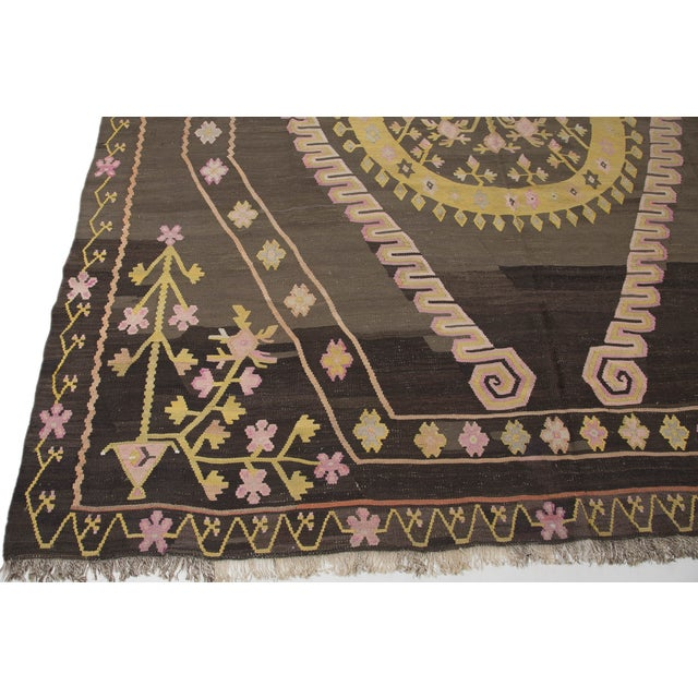 Turkish Primitive Large Kilim Rug - 9′7″ × 10′5″ - Image 8 of 10
