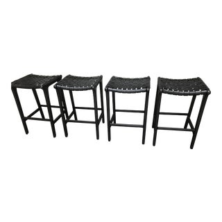 Black Leather Counter Stools - Set of 4