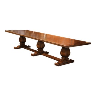 Large Carved Walnut Three-Leg Pedestal Farm Table with Iron Decorative Accents
