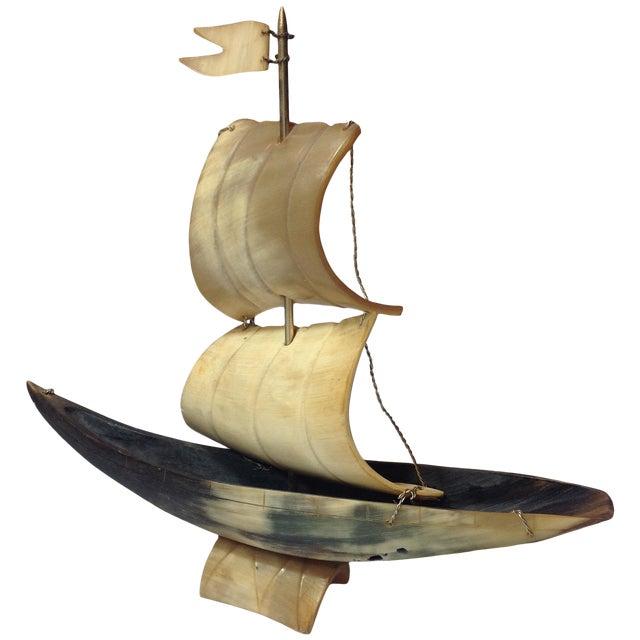 Vintage Bone Boat Sculpture - Image 1 of 5