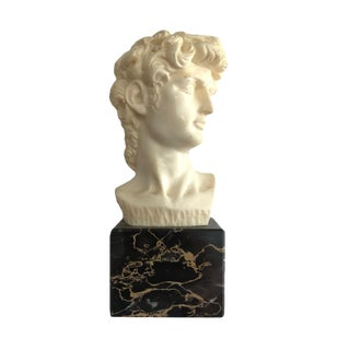 Bookshelf Bust of David on Marble Base