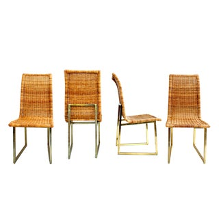 Mid-Century Reed & Brass Dining Chairs Set of 4