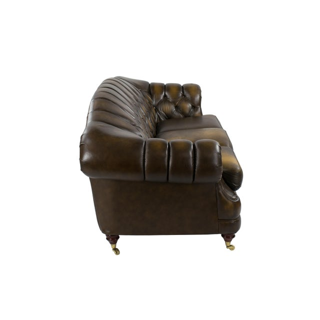 Image of 1970's English Leather Chesterfield Sofa