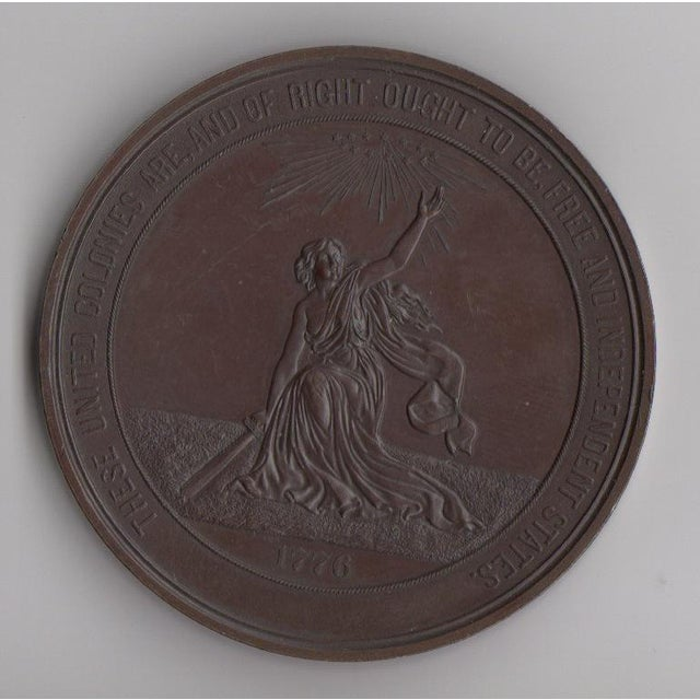 Image of 100 Years of American Independence Antique Bronze Sculptural Medallion