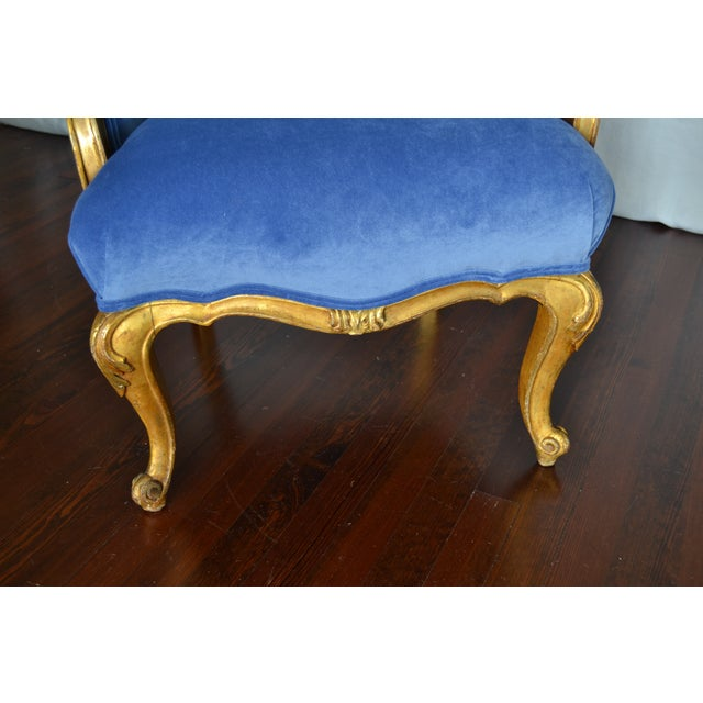 Antique French Gilded Louis XV Upholstered Cabriole Chair - Image 7 of 9