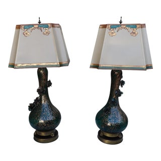 Rare Teal & Gold Murano Lamps with Flowers - A Pair