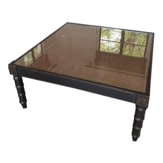 Glass Top Dark Stain Coffee Table