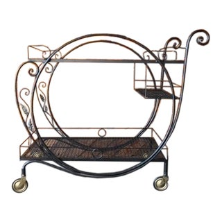 1940's Salterini Wrought Iron Rolling Outdoor Bar Serving Cart