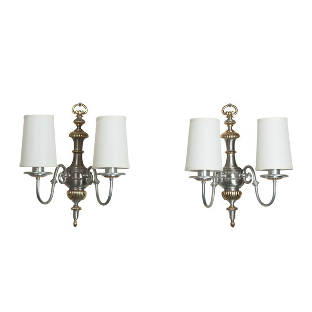 Brushed Steel Two-Arm Sconces- A Pair - Image 1 of 6