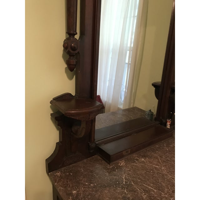 Walnut Renaissance Revival Vanity Dresser with Marble Top - Image 5 of 11