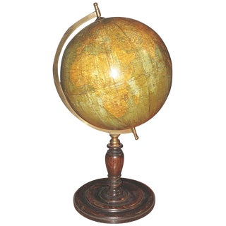 1920s Table-Top Globe on Turned Oak Base by George Philips of London