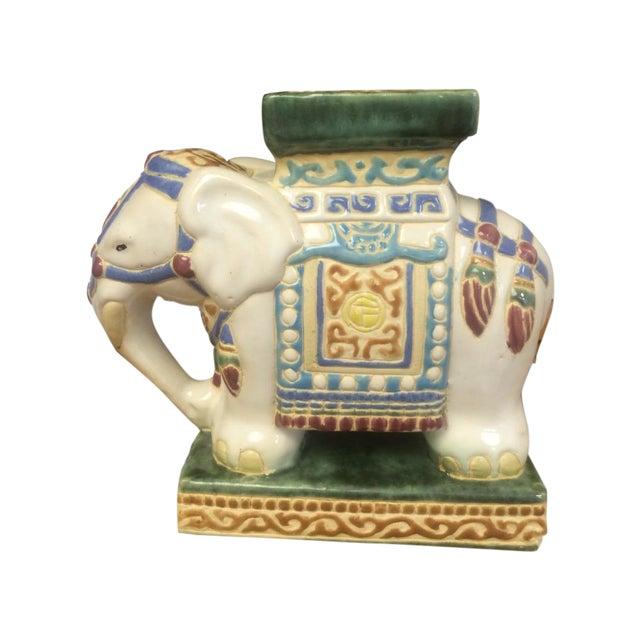 Vintage Chinoiserie Mini Elephant Pottery Stool - Image 1 of 5
