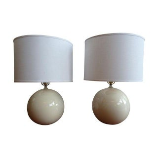 Mid-Century Modern White Sphere Lamps - A Pair