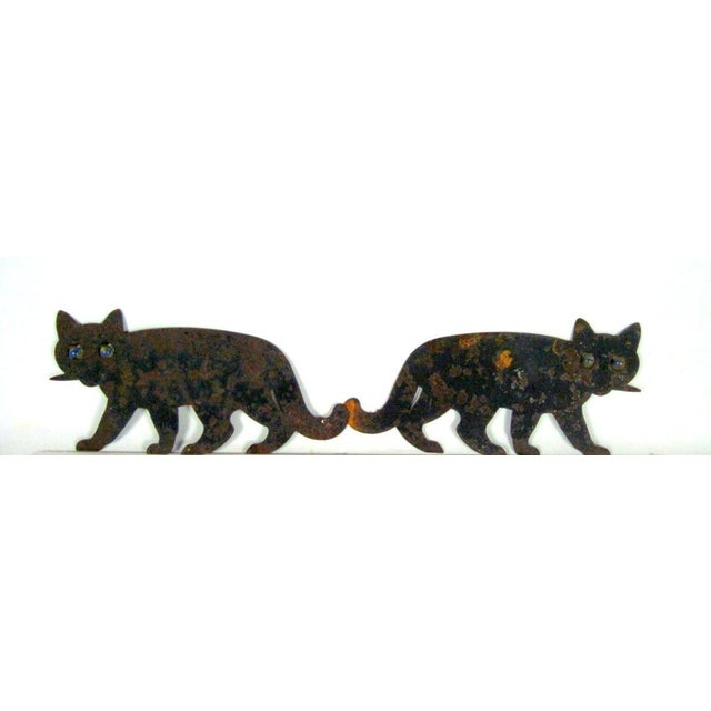 Metal Black Cats with Marble Eyes - A Pair - Image 4 of 5