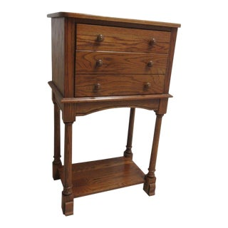 Amish-Made Oak High Top 2-Drawer End Table