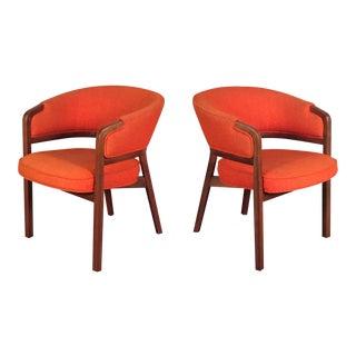Orange Tweed Mid-Century Modern Lounge Chairs - A Pair