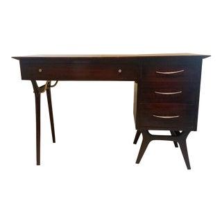 Mid Century Modern Rway Brass & Walnut Desk