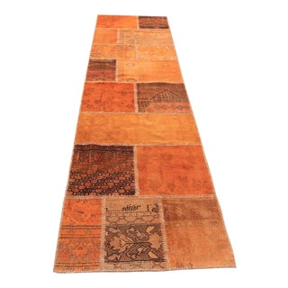 Vintage Turkish Overdyed Patchwork Oushak Rug - 2′9″ × 10′