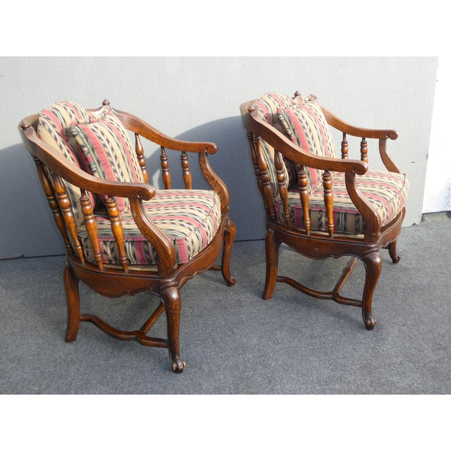 Vintage French Country Red Stripped Spindle Accent Chairs