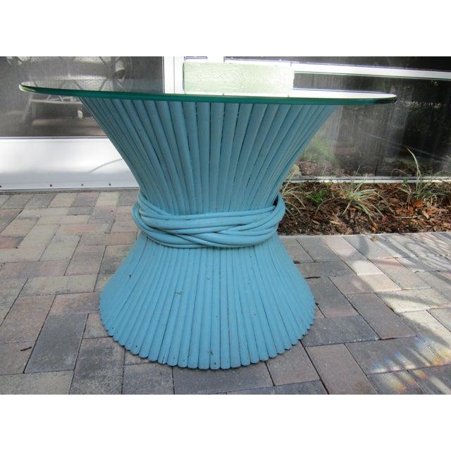 Vintage Sheaf of Wheat Blue Rattan Table Base - Image 6 of 11