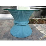 Image of Vintage Sheaf of Wheat Blue Rattan Table Base