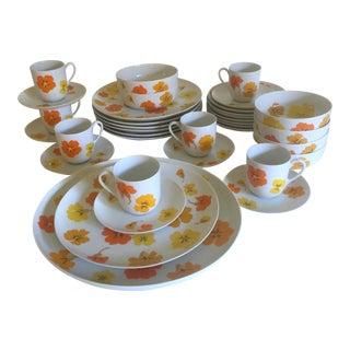 Mid Century Modern Suisse Langenthal Nasturtium Porcelain Dinnerware - Set of 35