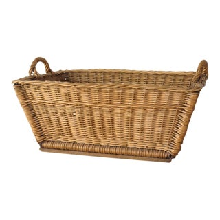 Vintage French Woven Willow Laundry Basket
