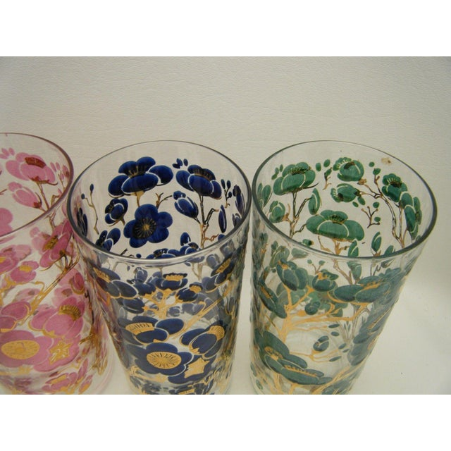 Vintage Fred Press Cherry Blossom Cocktail Glasses - S/4 - Image 3 of 5