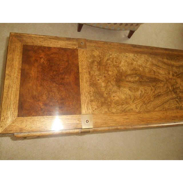 Mid-Century Mod Burled Walnut Console Table - Image 6 of 8