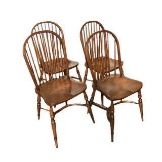 Oak Windsor Style Dining Chairs - Set of 4