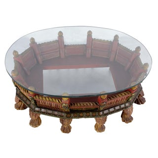 Wooden Carved Painted Low Profile Coffee Table With Glass Top