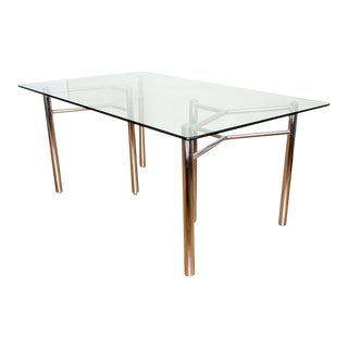 Chrome and Glass Modern Dining Table
