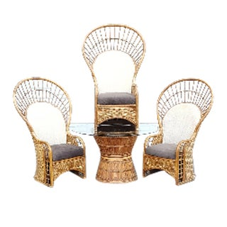 Bamboo Peacock Fan Chairs and Glass Table - Set of 4