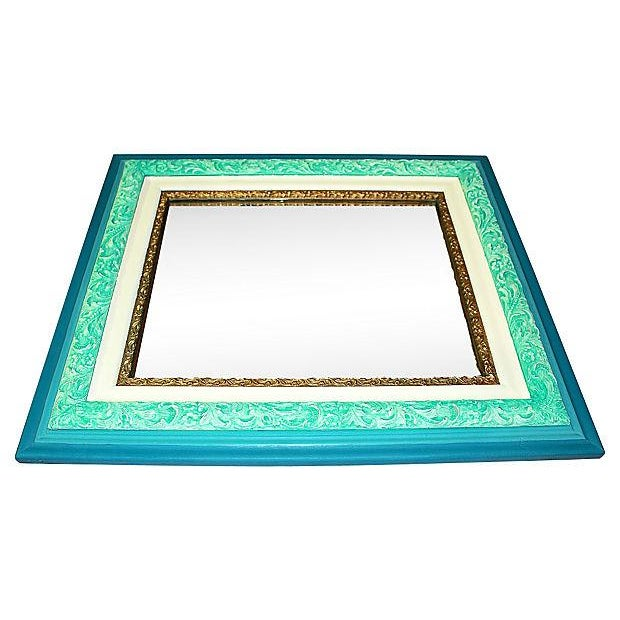Image of Antique Turquoise Painted Mirror in Chalk Paint