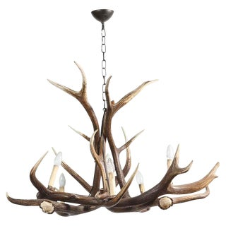 1990s French Imitation Antler Six Light Chandelier